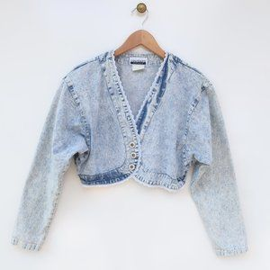 Vintage Contempo Casuals Bolero Style Denim Jacket